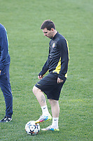 FC Barcelona´s Leo Messi during a training at the Vicente Calderon stadium in Madrid, Spain. Atletico de Madrid will face FC Barcelona in the second leg quarterfinal Champions League soccer match.  April 8, 2014. (ALTERPHOTOS/Victor Blanco)