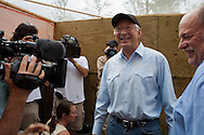 Secretary Salazar, Secretary of the Interior, visits Fort Jackson Wildlife Rehabilitation Center in Buras, Louisiana to check on the U.S. Fish and Wildlife Service and Tri-State Bird Rescue and Research, Inc. clean birds covered in BP oil.