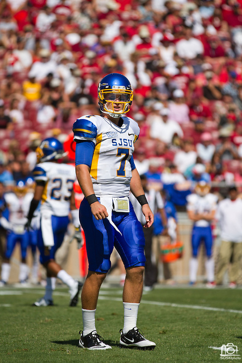 San Jose State Spartans' Matt Faulkner (7) looks off the field during the 57-3 loss to Stanford (7) in Palo Alto, Calif., Sept. 3, 2011.  (Spartan Daily/Stan Olszewski)