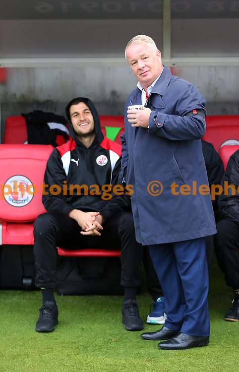 Crawley Town's Manager Dermot Drummy seen during the Sky Bet League 2 match between Crawley Town and Cambridge United at the Checkatrade Stadium in Crawley. November 12, 2016.<br /> James Boardman / Telephoto Images<br /> +44 7967 642437