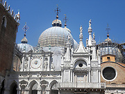 facade of the Cathedral Basilica of Saint Mark (known as Saint Mark's Basilica), Venice, Italy. An outstanding example of Byzantine architecture. The basilica was consecrated in 1094, the same year in which the body of Saint Mark was supposedly rediscovered