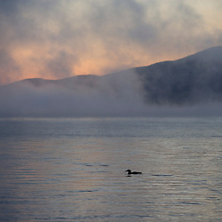 Dawn over Lily Bay in Moosehead Lake from Sugar Island Maine USA