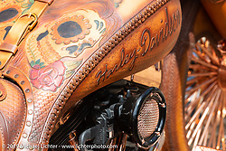 Custom tooled leather covered Harley-Davidson bagger at the Chopper Time annual old school chopper show at Willie's Tropical Tattoo in Ormond Beach during Daytona Beach Bike Week, FL. USA. Thursday, March 14, 2019. Photography ©2019 Michael Lichter.