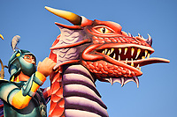 St George dragon night blue sky close up