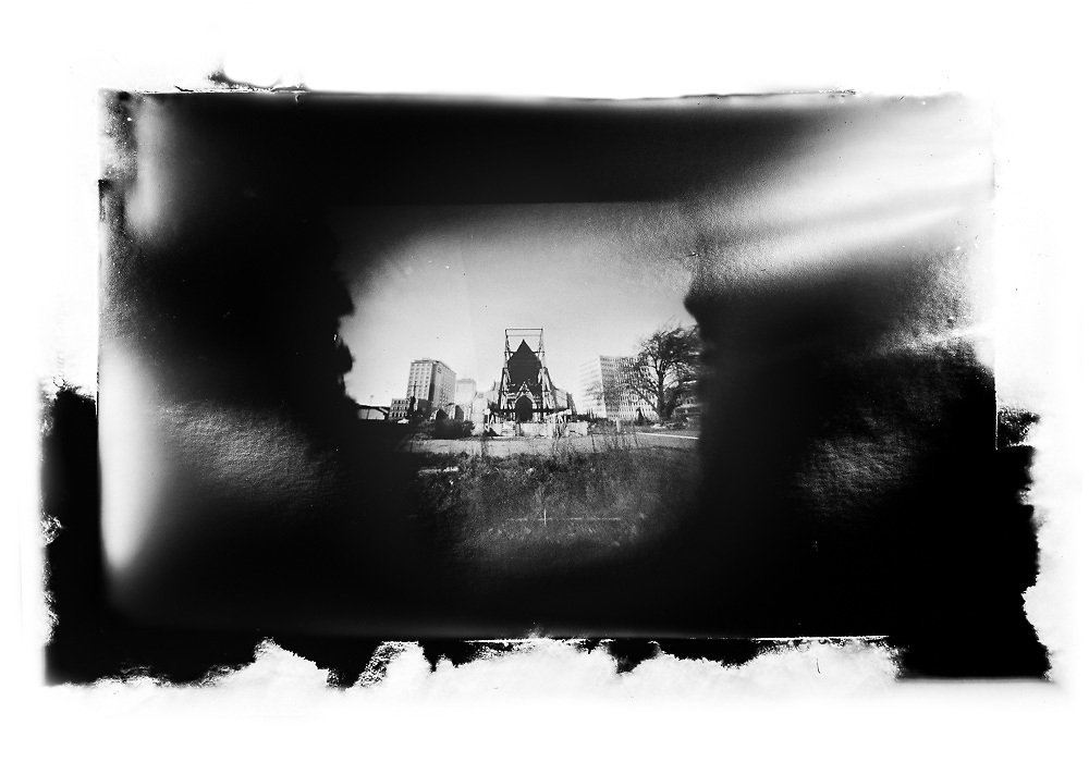"""ChristChurch Cathedral - Book of disputes.<br /> 2016. <br /> Pigment ink on paper. <br /> First shown in the exhibition """"Carpe Librum:  Seize the book"""" at The Art Box, Christchurch (2016)."""