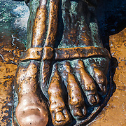 The foot of a statue of Gregory of Nin (Grgur Ninski) designed by Ivan Metrovi in Split, Croatia. Gregory of Nin was a Croatian bishop who opposed the Pope and introduced the Croatian language in the religious services in 926. Rubbing the statue's toe is said to bring good luck.<br />