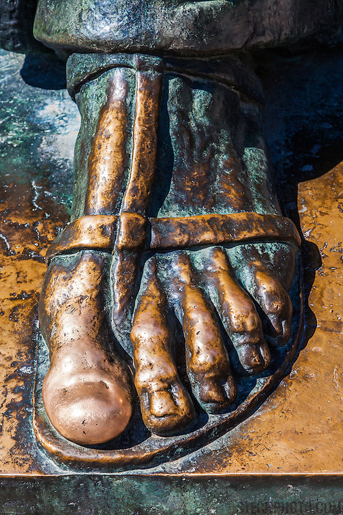 The foot of a statue of Gregory of Nin (Grgur Ninski) designed by Ivan Metrovi in Split, Croatia. Gregory of Nin was a Croatian bishop who opposed the Pope and introduced the Croatian language in the religious services in 926. Rubbing the statue's toe is said to bring good luck.<br /> <br /> + ART PRINTS +<br /> To order prints or cards of this image, visit:<br /> http://greg-stechishin.artistwebsites.com/featured/foot-of-gregory-of-nin-greg-stechishin.html