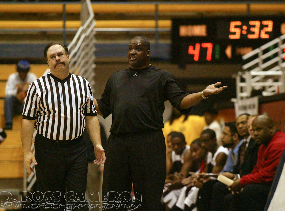 Skyline head coach Terrence Ransom objects to an official's call in the fourth quarter of their Martin Luther King Holiday Classic boys' high school basketball game against Newark Memorial, Monday, Jan. 21, 2008 at Haas Pavilion in Berkeley, Calif. Skyline won 58-56. (D. Ross Cameron/The Oakland Tribune)
