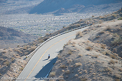 Dave Volnek of Nebraska riding his 1913 Indian up the steep mountain pass just out of Palm Desert on the Palms to Pines Scenic Byway on the last day of the Motorcycle Cannonball Race of the Century. Stage-15 ride from Palm Desert, CA to Carlsbad, CA. USA. Sunday September 25, 2016. Photography ©2016 Michael Lichter.