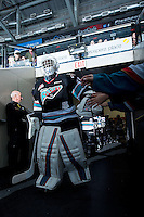 KELOWNA, CANADA - OCTOBER 23: Michael Herringer #30 of Kelowna Rockets walks to the ice through the tunnel against the Prince George Cougars on October 23, 2015 at Prospera Place in Kelowna, British Columbia, Canada.  (Photo by Marissa Baecker/Shoot the Breeze)  *** Local Caption *** Michael Herringer;