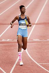 Girls 4x100 relay, finish line, Edwin Allen team wins