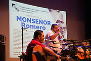 Salvadoran folk musicians come together playing to an overflow hall at the concert hall of the University of San Salvador to celebrate the life and beatification of Monsenor Oscar Romero. El Salvador prepares for the beatification ceremony and mass announcing the beatification of Archbishop Oscar Romero. The Archbishop was slain at the alter of his Church of the Divine Providence by a right wing gunman in 1980. Oscar Arnulfo Romero y Galdamez became the fourth Archbishop of San Salvador, succeeding Luis Chavez, and spoke out against poverty, social injustice, assassinations and torture. Romero was assassinated while offering Mass on March 24, 1980.