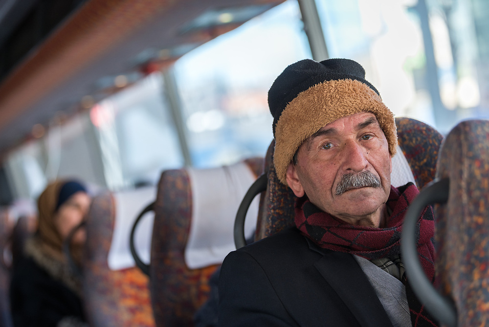 27 February 2020, Hebron: 68-year-old Nazer Muhtazar travels from Hebron to Jerusalem on a special bus offered by the Augusta Victoria Hospital in an effort to facilitate access to healthcare for patients living in the West Bank. He travels on the bus once a week, and has been for the past seven months, for cancer treatment.