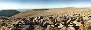 Panoramic view from the top of Ben Macdui looking north towards Cairn Lochan and Lairig Ghru, Cairngorm Mountains, Scottish Highlands, Uk