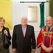 30.05. 2017.                                             <br /> Limerick Museum opened the doors to its new home at the former Franciscan Friary on Henry Street in the heart of Limerick city, dedicated to the memory of Jim Kemmy, the former Democratic Socialist Party and Labour Party TD for Limerick East and two-time Mayor of Limerick.<br /> <br /> Pictured at the opening of the new Museum were, the late Jim Kemmy's sister Joan Harnett and brother Joe Kemmy with Mayor of Limerick Cllr. Kieran O'Hanlon.<br /> <br /> The museum will house one of the largest collections of any Irish museum. Picture: Alan Place