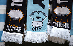 A general view of scarves for sale before the Premier League match between Tottenham Hotspur and Manchester City.