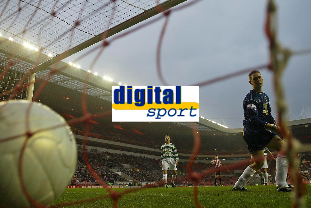 Photo: Andrew Unwin.<br />Sunderland v Northwich Victoria. The FA Cup. 08/01/2006.<br />Northwich's goalkeeper, Chris Rogers, can do nothing to save Neill Collins shot.