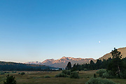 Full moon over the Sierra Nevada mountains in Hope Valley, Eldorado National Forest, California