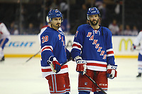 May 29 2014 New York Rangers Chris Kreider 20  and John Moore 17  Prior to The Start of Game 6 of The Eastern Conference Finals between The Montreal Canadiens and The New York Rangers AT Madison Square Garden in New York NY NHL Ice hockey men USA May 29 Eastern Conference Final Canadiens AT Rangers Game 6 <br /> Norway only
