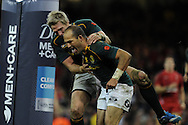 South Africa's Fourie Du Preez ® celebrates with teammate Jean De Villiers after he scores his try in the 2nd half.  Autumn International rugby, 2013 Dove men series, Wales v South Africa at the Millennium Stadium in Cardiff,  South Wales on Saturday 9th November 2013. pic by Andrew Orchard, Andrew Orchard sports photography,
