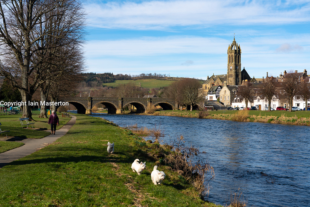 View of River Tweed flowing through town of Peebles in the Scottish Borders, Scotland,UK