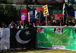 May 5, 2017 - Islamabad, Pakistan - Workers of Pakistan intellectual alliance and civil society shout slogan protest against Altaf Hussain outside Islamabad press club. (Credit Image: © Zubair Abbasi/Pacific Press via ZUMA Wire)