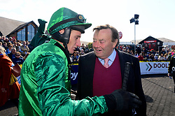 Daryl Jacob with trainer Nicky Henderson after winning the ES Champion Four Year Old Hurdle onboard Fusil Raffles during day five of the Punchestown Festival at Punchestown Racecourse, County Kildare, Ireland.