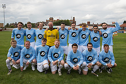© Licensed to London News Pictures . 02/08/2015 . Droylsden Football Club , Manchester , UK . Celebrity football match in aid of Once Upon a Smile and Debra , featuring teams of soap stars . Photo credit : Joel Goodman/LNP