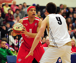 Bristol Academy Flyers' Gregg Streete looks to pass the ball - Photo mandatory by-line: Dougie Allward/JMP - Tel: Mobile: 07966 386802 23/03/2013 - SPORT - Basketball - WISE Basketball Arena - SGS College - Bristol -  Bristol Academy Flyers V Essex Leopards