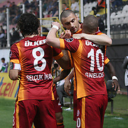 Galatasaray's Burak Yilmaz (2ndR) celebrate his goal with team mate during their Turkish Super League soccer match Akhisar Belediye Genclik Spor between Galatasaray at the 19 Mayis Stadium in Manisa Turkey on Monday, 04 May 2015. Photo by Kurtulus YILMAZ/TURKPIX
