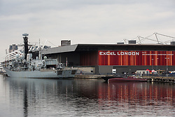 London, UK. 12th September, 2021. HMS Argyll, the longest-serving Type 23 Frigate in the Royal Navy, is pictured moored alongside ExCeL London in advance of the DSEI 2021 arms fair. Activists from a range of different groups continue to protest outside the venue for one of the world's largest arms fairs.