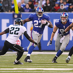Running back Brandon Jacobs #27 of the New York Giants rushes the ball during NFL football action between the New York Giants and Jacksonville Jaguars on Nov. 28, 2010 at MetLife Stadium in East Rutherford, N.J.
