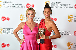 Amanda Holden and Alesha Dixon, with the BAFTA for Entertainment Programmes for BGT, at the Virgin TV British Academy Television Awards 2018 held at the Royal Festival Hall, Southbank Centre, London.