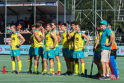 players and coach Colin Batch of Australia (R) waiting at the penalty corners during the Champions Trophy finale between the Australia and India on the fields of BH&BC Breda on Juli 1, 2018 in Breda, the Netherlands.