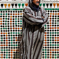 Africa, Morocco, Meknes. Man at Mausoleum of Moulay Ismail.