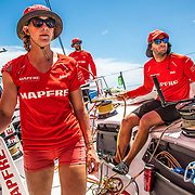 Leg 6 to Auckland, day 19 on board MAPFRE, Sophie Ciszek, Blair Tuke and Pablo Arrarte on deck during their watch. 25 February, 2018.