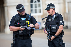 © Licensed to London News Pictures. 16/09/2017. London, UK. Increased security is seen in Westminster, following a terror attack in Parsons Green, West London yesterday (Friday) morning. Last night, British Prime Minister Theresa May raised the terror threat level from severe to critical. The terror suspect is still at large. Photo credit : Tom Nicholson/LNP