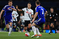 Erik Lamela  of Tottenham Hotspur (c) in action. Barclays Premier league match, Chelsea v Tottenham Hotspur at Stamford Bridge in London on Monday 2nd May 2016.<br /> pic by Andrew Orchard, Andrew Orchard sports photography.
