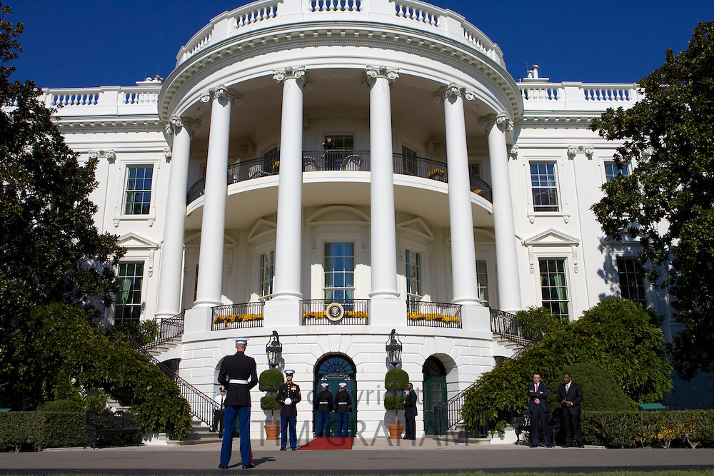 US marines and presidential security on duty at The White House, Washington DC