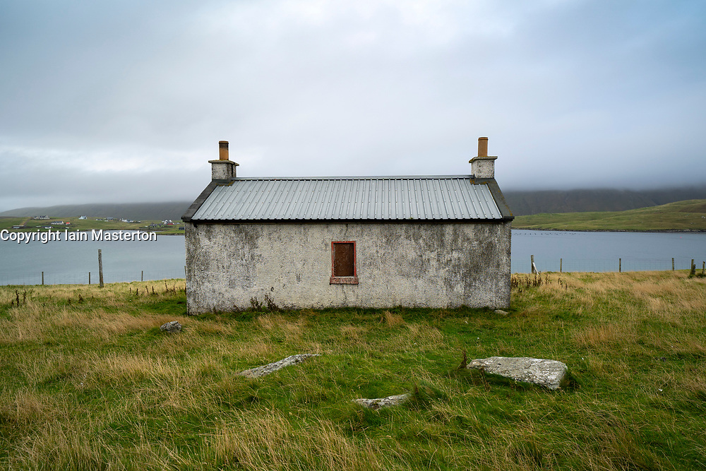 Old cottage at Papil, West Burra Island, Shetland, Scotland, UK