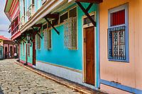 Guayaquil , Ecuador- March 7 , 2020 : colorful pedestrian street of Las Penas on santa Anna hill district landmark of Guayaquil  Ecuador in south america