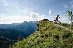 mountain biker on the way downhill, Slatnik, Istria, Slovenia
