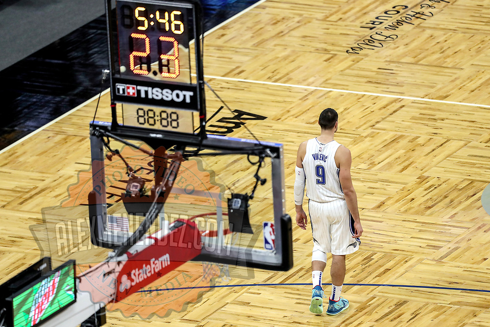 ORLANDO, FL - FEBRUARY 23:  Nikola Vucevic #9 of the Orlando Magic is seen against the Detroit Pistons during the second half at Amway Center on February 23, 2021 in Orlando, Florida. NOTE TO USER: User expressly acknowledges and agrees that, by downloading and or using this photograph, User is consenting to the terms and conditions of the Getty Images License Agreement. (Photo by Alex Menendez/Getty Images)*** Local Caption *** Nikola Vucevic