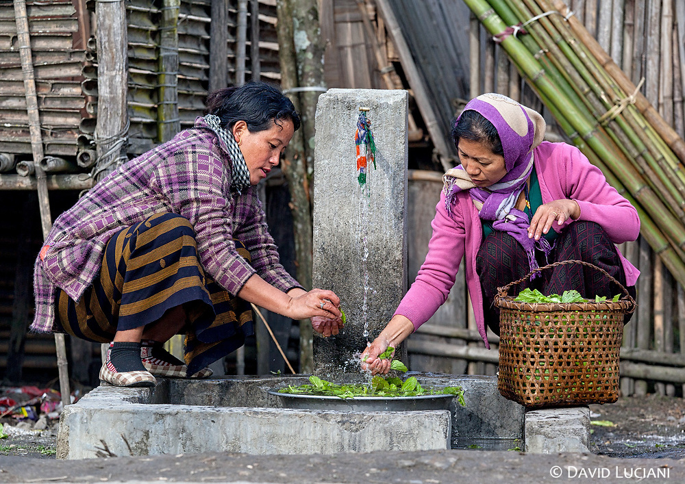 Women washing salad leaves at a water well somewhere in the Tajang and Bulla Lemba area. Tajang and Bulla are closely connected villages.