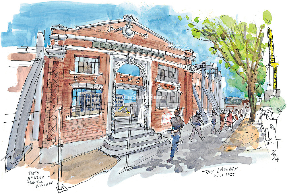 The historic Troy Laundry Building on Fairview Avenue in the South Lake Union area of Seattle.<br /> <br /> Gabriel Campanario / The Seattle Times