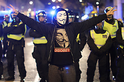 November 5, 2016 - London, London, UK - London , UK . Trafalgar Square. Supporters of Anonymous , many wearing Guy Fawkes masks , attend the Million Mask March bonfire night demonstration , in central London  (Credit Image: © Joel Goodman/London News Pictures via ZUMA Wire)
