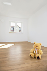 Toy bear alone sitting wooden floor new apartment