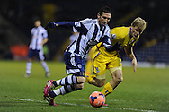 Morgan Amalfitano of West Brom goes past Jonathan Parr of Crystal Palace. FA Cup with Budweiser, 3rd round, West Bromwich Albion v Crystal Palace match at the Hawthorns in Birmingham, England on Saturday 4th Jan 2014.<br /> pic by Andrew Orchard, Andrew Orchard sports photography.