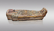 Ancient Egyptian wooden sarcophagus - the tomb of Tagiaset, Iuefdi, Harwa circa 7th cent BC - Thebes Necropolis. Egyptian Museum, Turin. Grey background .<br /> <br /> If you prefer to buy from our ALAMY PHOTO LIBRARY  Collection visit : https://www.alamy.com/portfolio/paul-williams-funkystock/ancient-egyptian-art-artefacts.html  . Type -   Turin   - into the LOWER SEARCH WITHIN GALLERY box. Refine search by adding background colour, subject etc<br /> <br /> Visit our ANCIENT WORLD PHOTO COLLECTIONS for more photos to download or buy as wall art prints https://funkystock.photoshelter.com/gallery-collection/Ancient-World-Art-Antiquities-Historic-Sites-Pictures-Images-of/C00006u26yqSkDOM