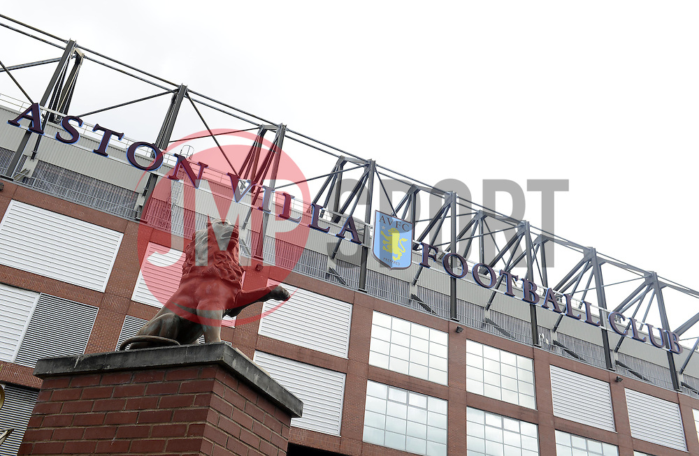 The Lion on AstonVilla's famous crest is replicated on the gates - Photo mandatory by-line: Joe Meredith/JMP - Mobile: 07966 386802 23/08/2014 - SPORT - FOOTBALL - Birmingham - Villa Park - Aston Villa v Newcastle United - Barclays Premier League